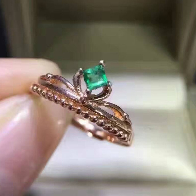 Vintage crown emerald silver ring 0.3ct natural Colombian emerald gemstone ring classic solid 925 emerald wedding ring for woman
