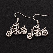 40pairs 925 Silver Fish Ear Hook Motorcycle Charm Pendant Earrings Dangle Chandelier Jewelry E494 24x29mm