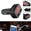 Universal 4 en 1 Coche de Doble Puerto USB Carga Rápida LED Termómetro de Temperatura Monitor de Voltaje de Corriente Del Amperímetro Del Voltímetro