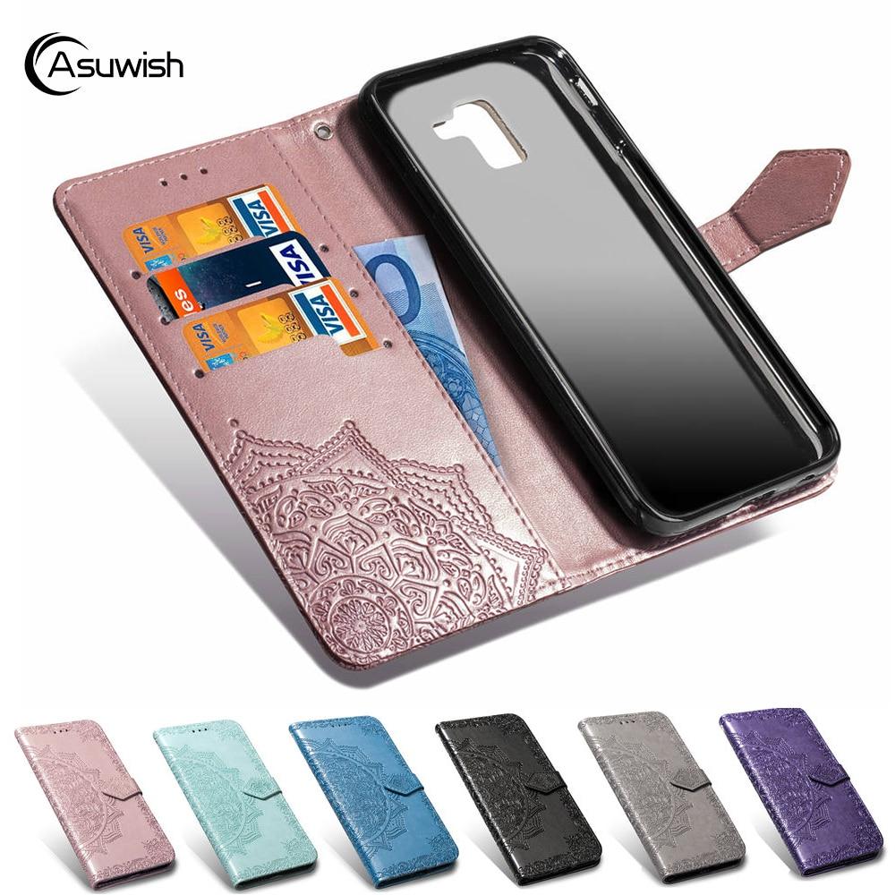 360 Flip Cover Leather Wallet Phone Case For Samsung Galaxy J6 2018 GalaxyJ6 SM J600 J600F SM-J600 SM-J600F J 6 J62018 Pocket EU visa