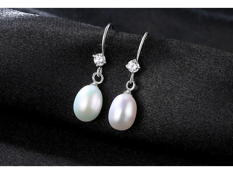 ab7b5d586ed7 CZCITY 925 piezas de plata rodio para mujeres de 7-7,5mm pendientes de  perlas de agua dulce con un solo pendiente de gota de cristal de piedra CZ  para ...