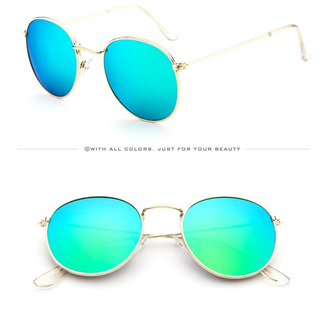 Pink classic Round Sunglasses Women men female brand Metal Frames Mirror Lenses Sun Glasses For women retro Male oculos de sol