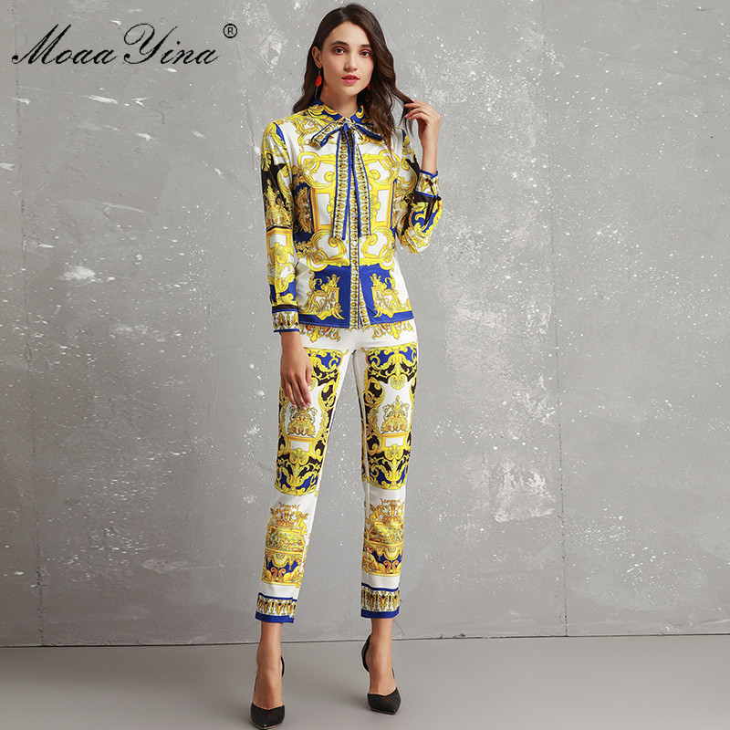 MoaaYina Fashion Designer Set Women s High Quality Long Sleeve Vintage Printed Elegant Shirt 3 4