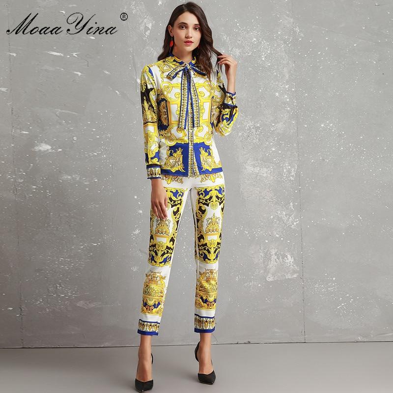MoaaYina Fashion Designer Set Women's High Quality Long Sleeve Vintage Printed Elegant Shirt+3/4 Pencil Pants Two-piece Suit