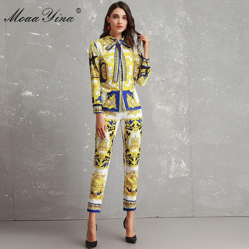 MoaaYina conjunto de diseñador de moda mujer de alta calidad de manga larga Vintage impreso elegante camisa + 3/4 pantalones lápiz dos  traje de pieza-in Conjuntos de mujer from Ropa de mujer    1