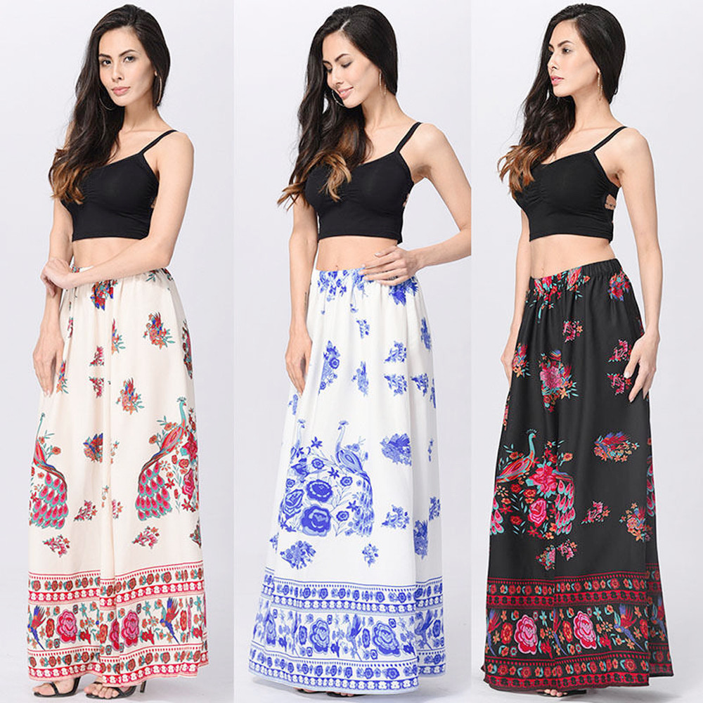 04fd7eef59 CHAMSGEND 2018 fashion Women Boho Maxi Skirt Beach Floral Holiday Summer  High Waist Loose Long Skirt New-in Skirts from Women's Clothing &  Accessories on ...