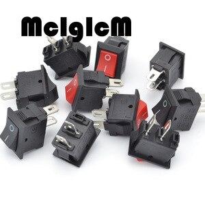 Image 2 - 20pcs Mini Rocker Switch SPST Black and Red Snap in Switches Button AC 250V 3A / 125V 6A 2 Pin I/O 10*15mm On off Switch Rocker