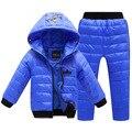 2014 Do Bebê Do Inverno Para Baixo Marca casaco Jaqueta Crianças Para Baixo conjuntos de roupas de Frio Crianças Quente Casacos Meninas/Meninos Parkas