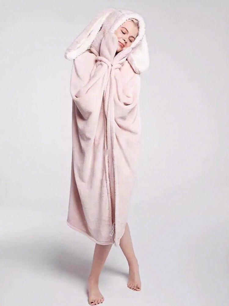Cute Pink Comfy Blanket Sweatshirt Winter Warm Adults and Children Rabbit Ear Hooded Fleece Blanket Sleepwear Huge Bed Blankets 22