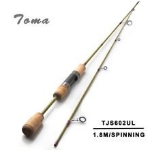 TOMA 1.8m 602UL Spinning Lure Carbon 2 Sections Fishing Rod 0.8-5G 2-5LB Pole With JAPAN Ring Fast Action Fishing Tackle