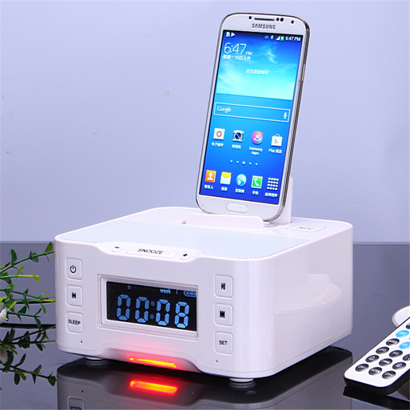 Bluetooth USB Charging Dock Station Speaker with NFC FM Radio Alarm Clock for Iphone 5 6s 7 Samsung S6 S7 Note 4 5 Android Phone sangean am fm rds atomic clock radio with ipod dock