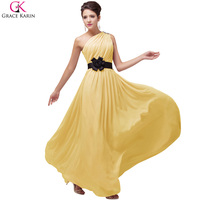 Grace Karin One Shoulder Yellow Prom Dresses Chiffon Purple Pink Ice Blue Cheap Long Prom Dresses