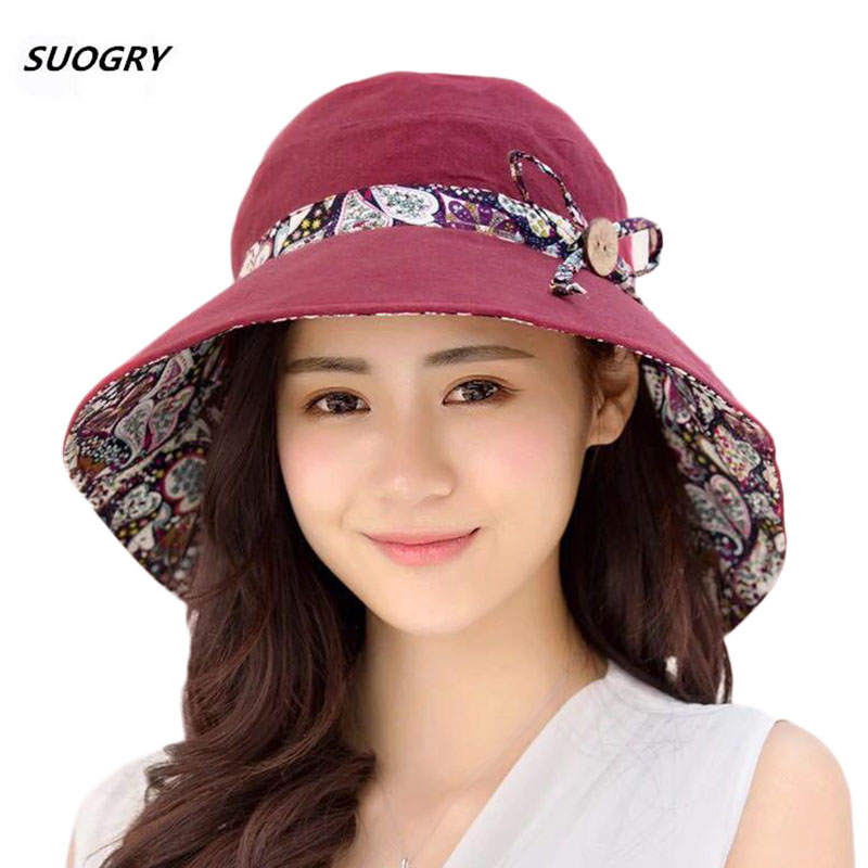 SUOGRY Womens Sun Hat Hindawi Summer Reversible UPF 50+ Beach Hat Foldable Wide Brim Cap