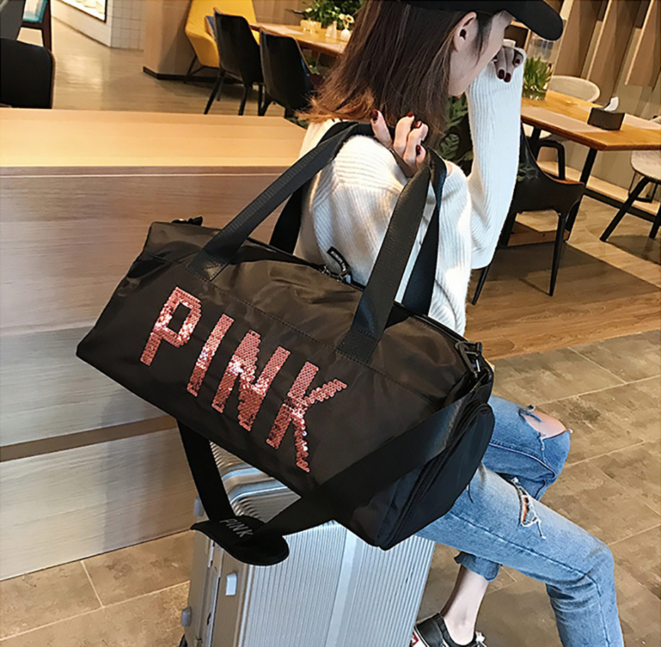 Outdoor Waterproof Nylon Sports Gym Bags Men Women Training Fitness Travel Handbag Yoga Mat Sport Bag with shoes Compartment01003109