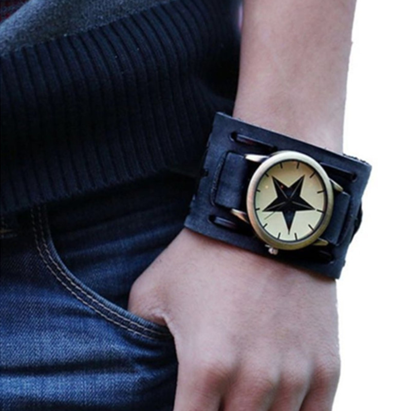 New Fashion Men's Watch Women Vintage Retro Punk Rock Leather Bracelet High Quality Cool Men Watch Male Clock Relogio Masculino