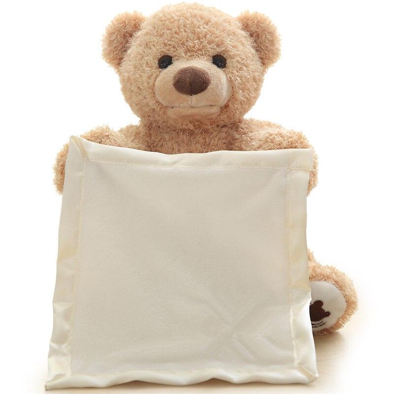 Image 2 - 30cm Peek a Boo Teddy Bear Play Hide Seek Lovely Cartoon Stuffed Kids Birthday Xmas Gift Cute Electric Music Bear Plush Toy-in Stuffed & Plush Animals from Toys & Hobbies