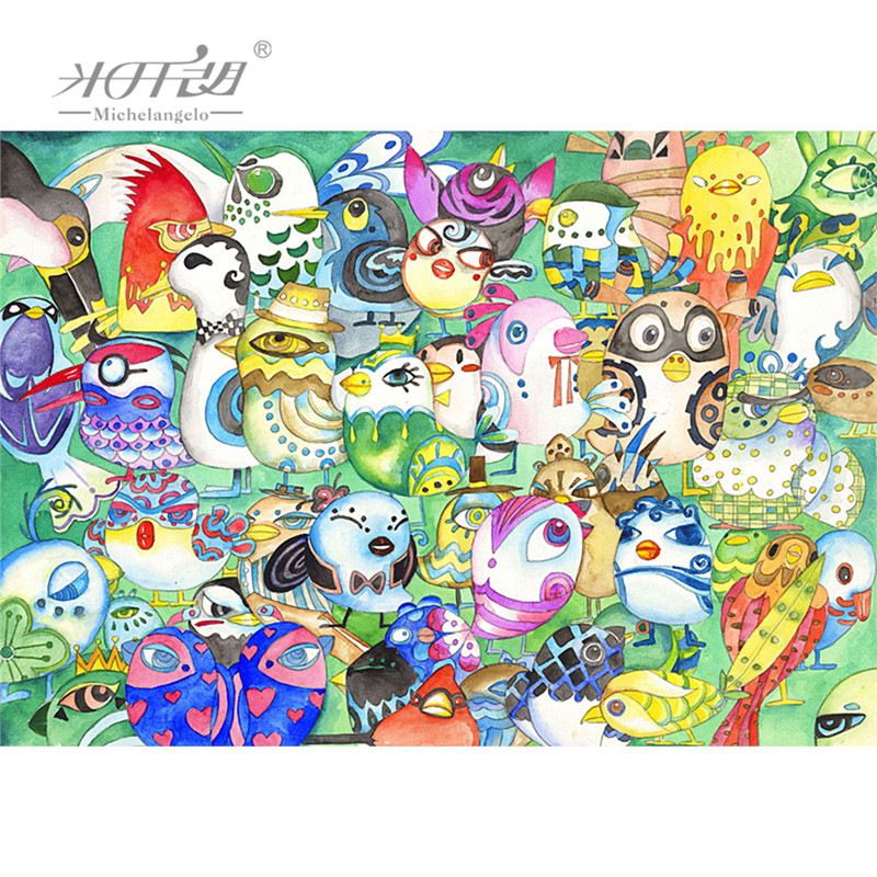 Michelangelo Wooden Jigsaw Puzzle 500 1000 1500 2000 Piece Evening Party Owl Cartoon Animals Decorative Wall Painting Gift Decor