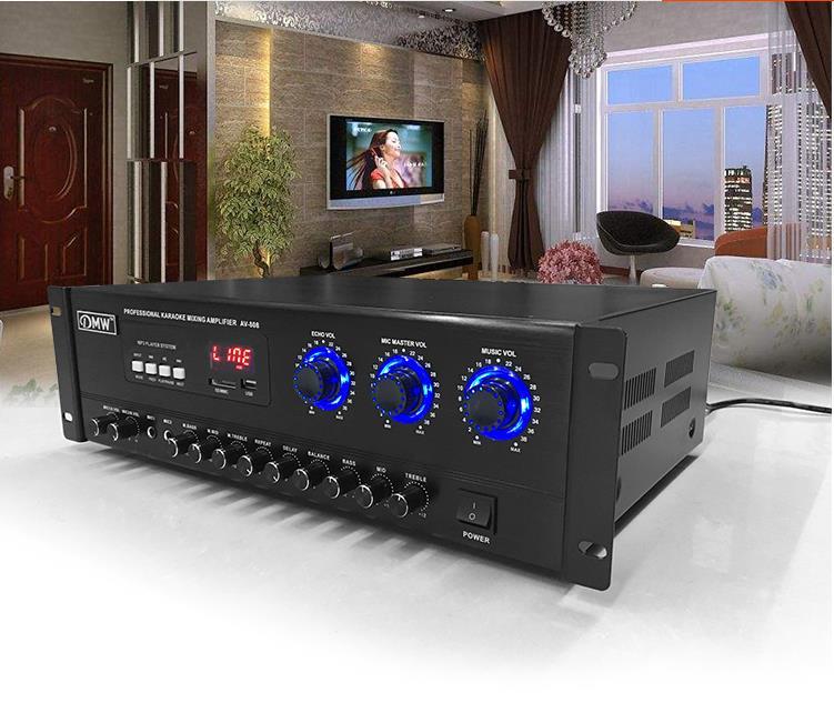 AV 808 hifi 2.0 amplifier U disk / sd / Kara OK / ktv / professional fixed impedance bass high power Bluetooth power amplifier