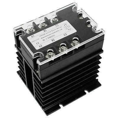 DC-AC 25A 5-32VDC/ 380VAC 3 Phase SSR Solid State Relay w Heat Sink normally open single phase solid state relay ssr mgr 1 d48120 120a control dc ac 24 480v