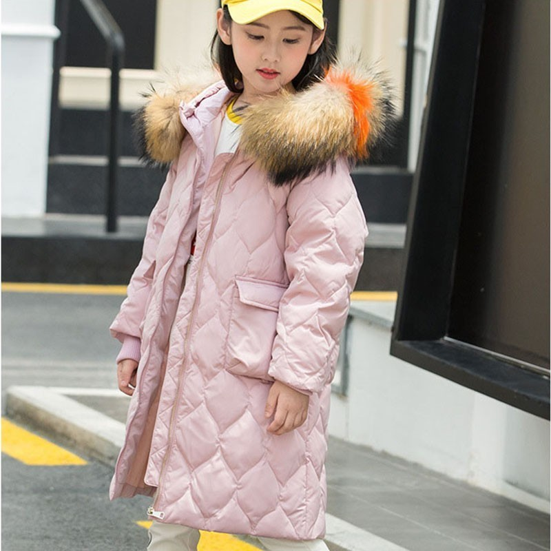 Christmas Whie Duck Down Warm Winter Coat Girl Parka Long Thick Winter Jacket Girls 2018 Fur Hooded Outwear Red Purple Black 2018 winter jacket male coat warm duck down zipper ski jacket outwear middle long parka with fur hooded thick 4 colors jackets