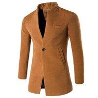 Winter Jacket Men Wool Blends Trench Coat Fashion Men Overcoat Single Button Solid Outwear Male Parka Plus Size 3XL