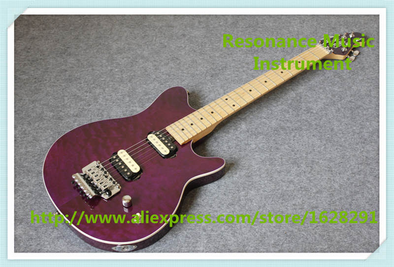 High Quality Purple Quilted Finish Music Man AX40 Electric Guitars Electric With Chrome Floyd Rose Tremolo Free Shipping hot selling china quilted finish musicman ax 40 electric guitar with chrome floyd rose tremolo for sale