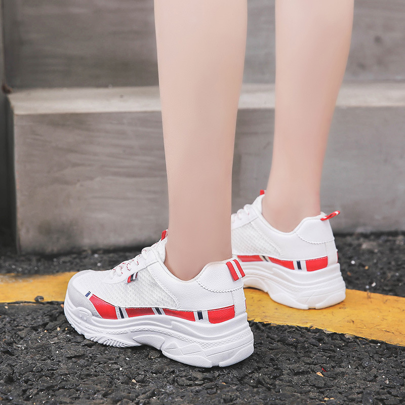 Women shoes 2018 new spring summer sneaker trainer loafer top air non-slip wearproof Casual thick joker fashion Daddy shoes