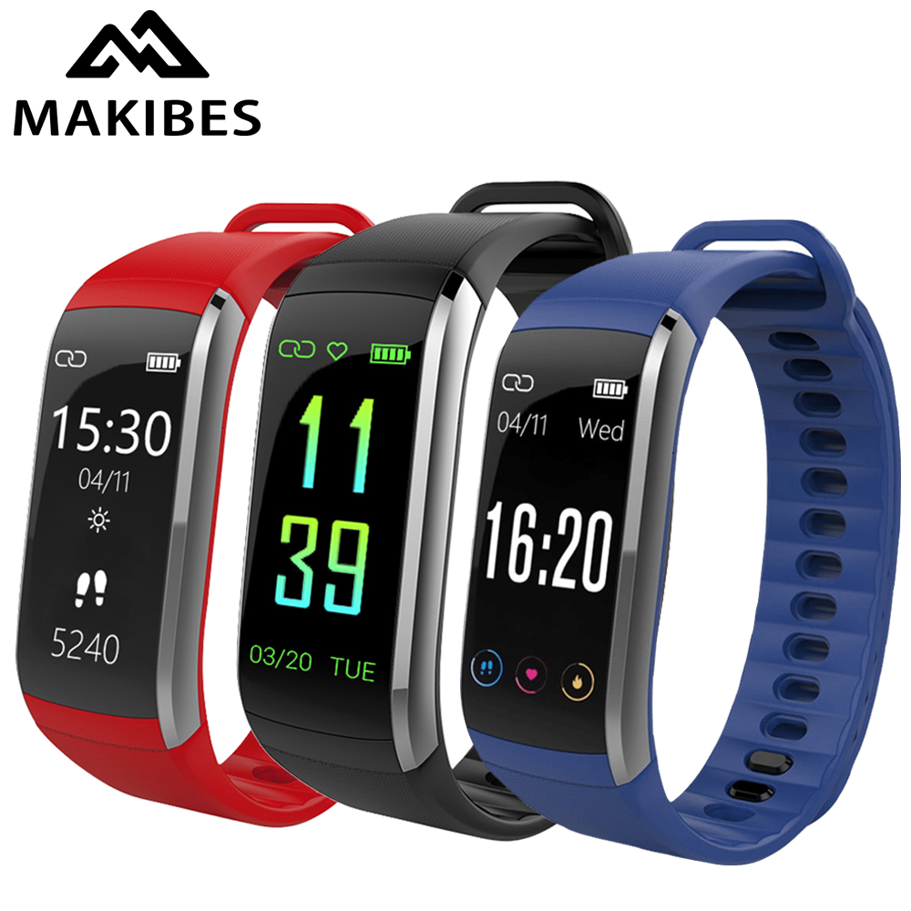 Makibes KR02 Color Screen Smart Wristband IP68 Waterproof Sport Band GPS Heart Rate Monitor Activity Fitness Tracker Bracelet original makibes hr1 smart bracelet fitness activity tracker continuous heart rate monitor 0 96 oled bluetooth wristband