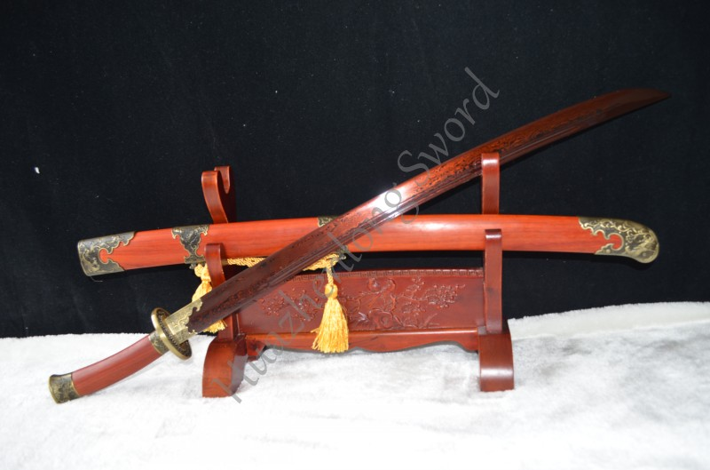 Rosewood Saya Chinese Qing Dynasty Type Sword red font b Folded b font Steel font b