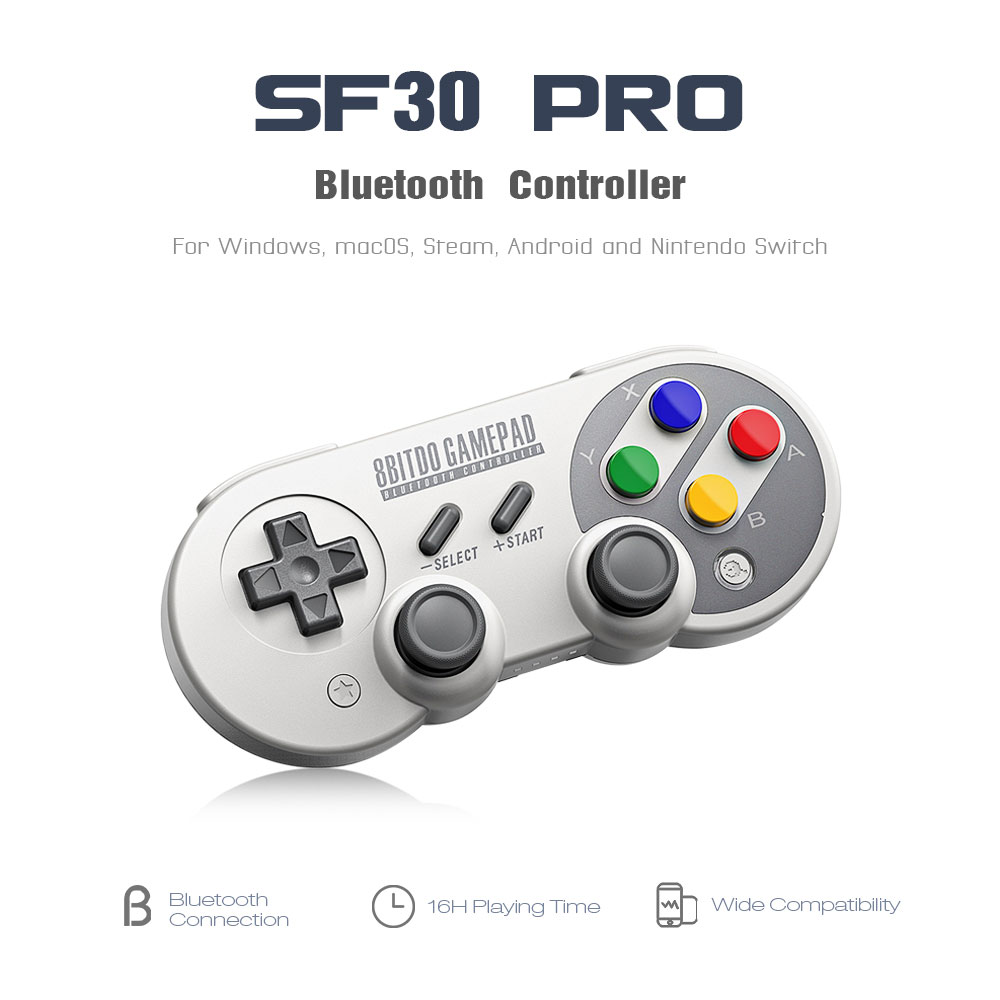 Official 8BitDo SF30 Pro Wireless Bluetooth Gamepad Controller with Joystick for Windows Android macOS Nintendo Switch Steam 8
