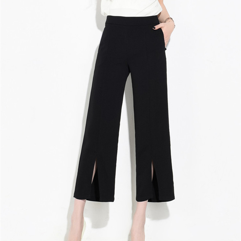 2017 New Ladies Wide Leg Pants Spring Summer Split Bottom Pant Women Office  Work Solid Black High Waist Pantalon Plus Size S XXL-in Pants   Capris from  ... 3edd47c7272