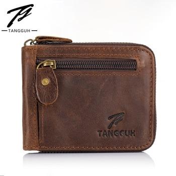 цена на Men Short Wallet Cowhide Genuine Leather Wallets Zipper Pocket Open Top Quality Retro Bifold Purses Credit Card Holders Vintage