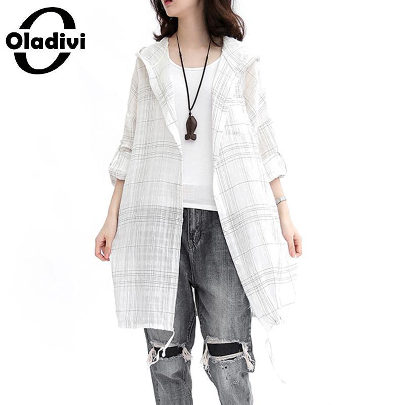 Oladivi Plus Size Women Summer   Blouse     Shirts   Long Top Kimono Cardigan Beach Thin Outerwear Summer Sun Protection Covers Blusas