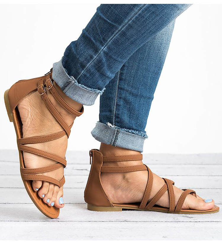 HTB1mqZOK4jaK1RjSZFAq6zdLFXay Women Sandals Fashion Gladiator Sandals For Women Summer Shoes Female Flat Sandals Rome Style Cross Tied Sandals Shoes Women 43