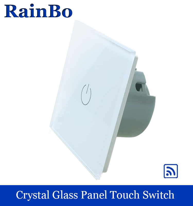 rainbo Screen Crystal Glass Panel Remote Touch switch Switch EU Wall Switch AC110~250V Light Switch  1gang1way LED Lamp A1913W/B crystal glass panel smart wireless switch eu wall switch 110 250v remote touch switch screen wall light switch 1gang 1way black