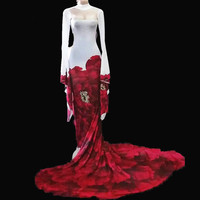Red Rose Printed Prom Party Formal Dress Long Tail Nightclub Bar Sexy One piece Costumes Slim Fashion Stage Performance Show DJ