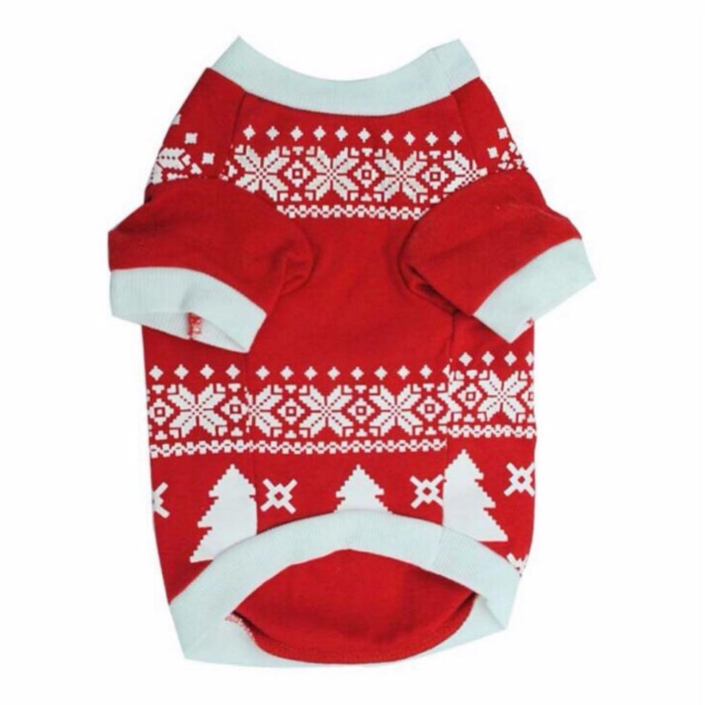 Dog Clothes Cotton T-shirt Pet Dog Christmas Deer Clothes Printed Snow Fawn Interlock Shirt