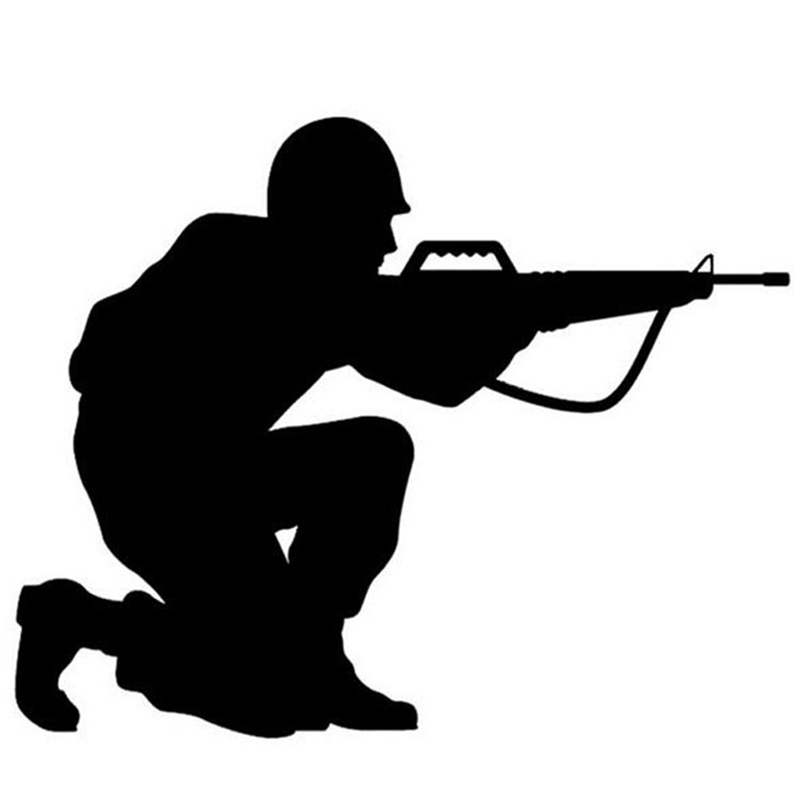 Soldier Shoot Gun Funny Sticker Car Styling Decorations Stickers and Decals Automobile Motorcycle for Volkwagen Golf 4 Golf 7