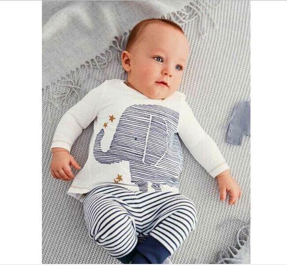 2016 Autumn baby boys clothing sets long-sleeved cotton T-shirt & pants Elephant Babe Elephant Baby