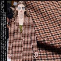 Buena calidad 150 cm ancho tejido de lana tejido de lana a cuadros de moda estilo de inglaterra material de costura diy invierno/otoño hombre/capa de las mujeres