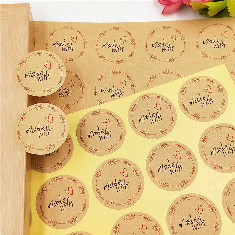 300Pcs/Lot Self Adhesive Kraft Paper Sticker Labels for Jewelry Cases Gift Boxes Envelope Bags Sealing Stickers Handmade Gifts