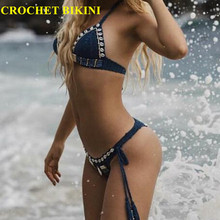 CROCHET BIKINI Sexy lace dress Lace Knit Bra Boho Women Swimwear Beach Push-up Bikini Halter Cami Tank Crop Top Handmade Brazil