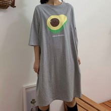 College Style Fake Two Pieces Avocado Print Female Student Dress Summer Streetwear Casual Loose Short-sleeve Women