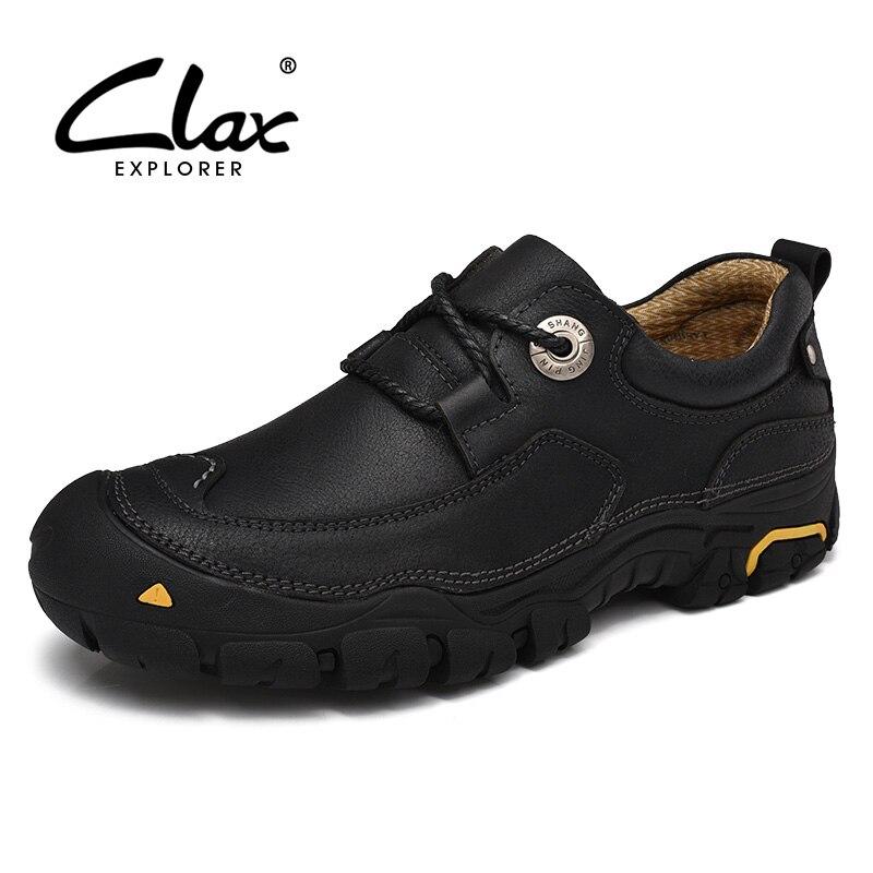 Clax мужские полусапожки Пояса из натуральной кожи Демисезонный повседневные ботинки открытый мужской Рабочая обувь ручной работы Детская б...