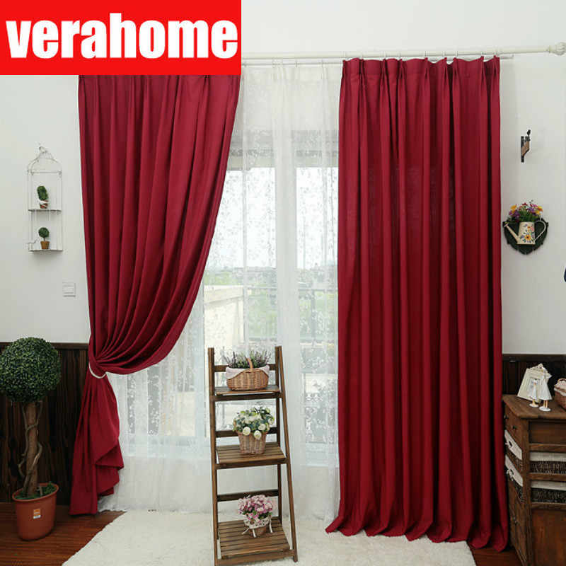 Solid thermal blackout red curtains for living room bedroom Eyelets curtain windows treatment custom panel home decor