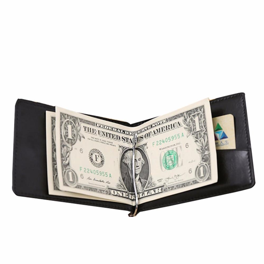 GUBINTU Leather Men Money Clip Wallets Mental Card Organizer Rfid Brand Bifold Purse Coin Pocket Carteras Hombre--BID081 PM49 bvp luxury brand weave plain top grain cowhide leather designer daily men long wallets purse money organizer j50