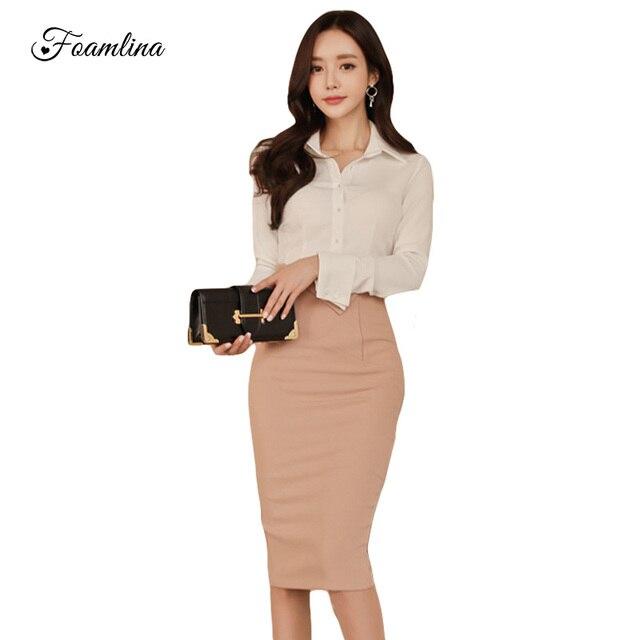 4c225203428 Foamlina 2018 Модные женские офисные облегающее платье белая рубашка  Империя юбка-карандаш костюмы элегантный Женская
