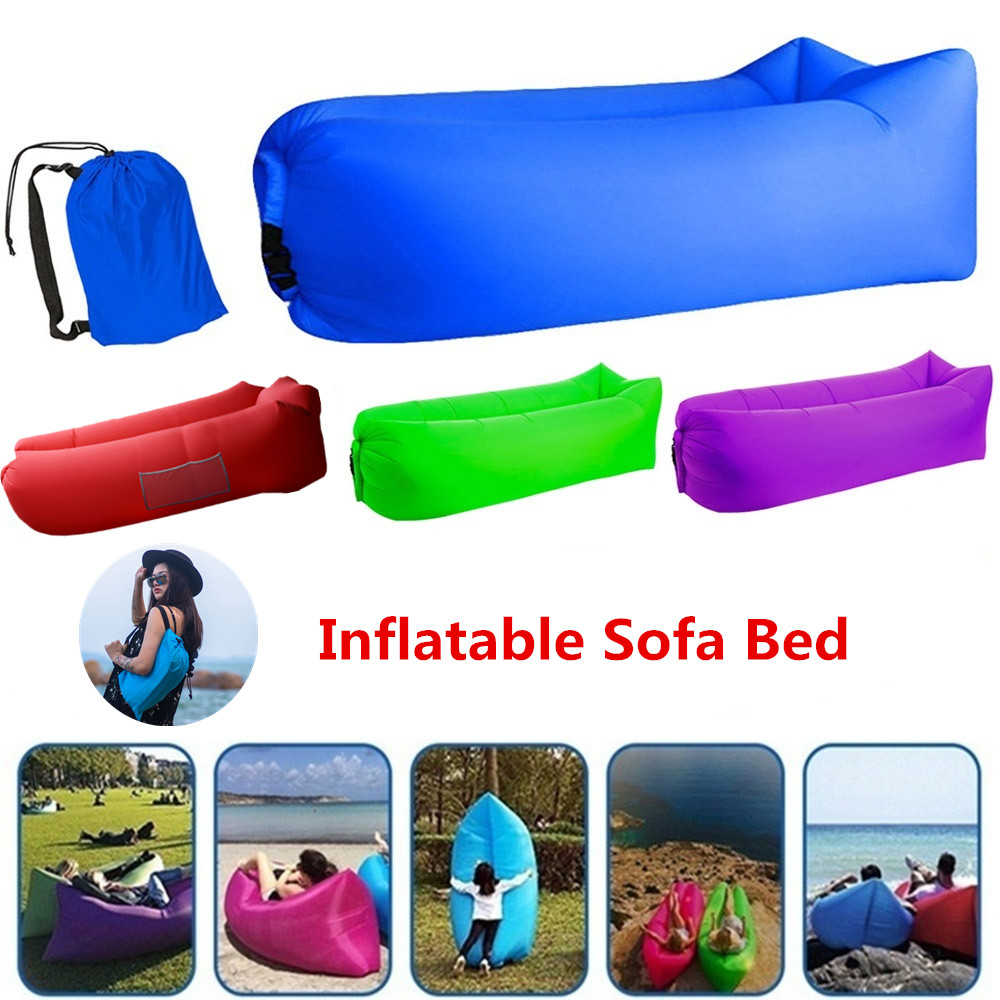 Outdoor Camping Fast Inflatable Sofa Inflatable Sleeping Bag Lounger Bed Fast Folding Sofas Waterproof Adult Beach Lounge Chair