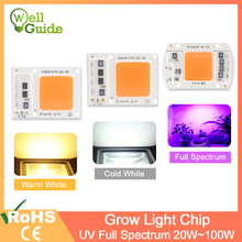 LED Grow Light Chip COB/UV Full Spectrum/Warm/Cold White AC 220V 240V 20W 30W 50W 100W For Flower Plant Growth