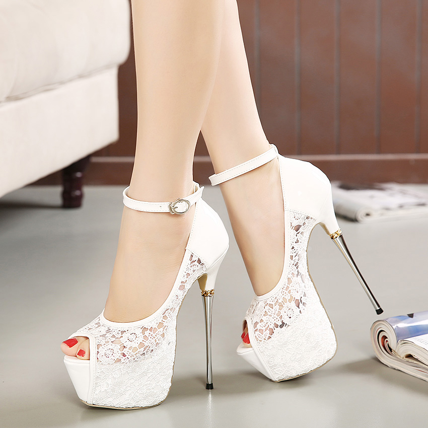 New Hot Ivory Wedding Shoes Women P Toe Stiletto Heels 16cm Metal Heel 6cm Platform Lace Bridal Ankle Strap Pumps F09 In S From